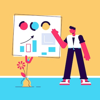 Business male character in suit talking near board with chart and diagram during presentation   illustration.