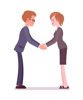 Business male and female partners handshaking with both hands