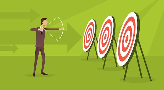 Business man aim archer to target get goal concept