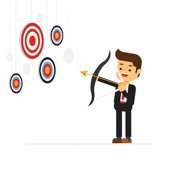 Business man aiming for a high target
