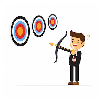 Business man aiming at target with bow and arrow