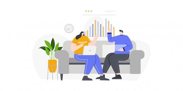 リンク先ページのビジネスの男性とビジネスの女性の議論の概念図