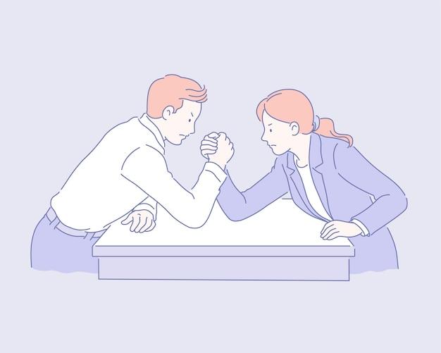 Деловой мужчина и женщина по армрестлингу в стиле линии иллюстрации
