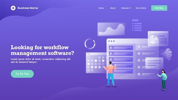 ビジネスの男性と女性は、ワークフロー管理ソフトウェアベースのランディングページのウェブサイトを紫色で維持しています。