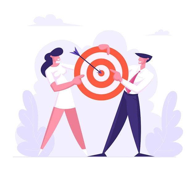 中央のフラットイラストの矢印でターゲットを保持しているビジネスの男性と女性のチーム