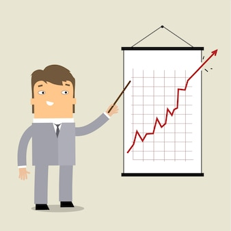 グラフでのビジネスの男性