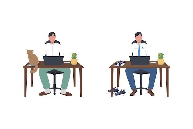 Деловой человек за столом плоский цветной безликий набор символов