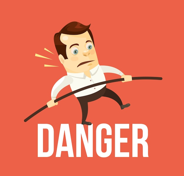 危険のバランスをとるビジネスマン。ビジネス危機。