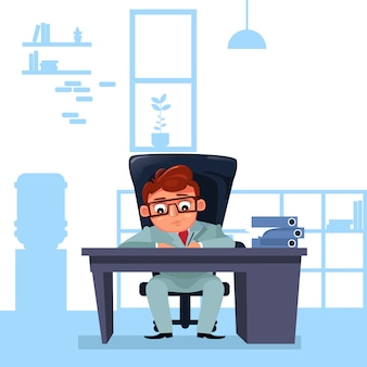 Business man boss sit at office desk working with documents