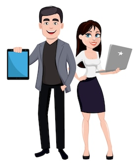 Business man and business woman cartoon characters