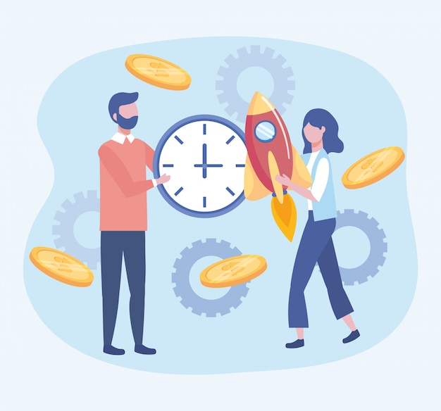 Business man and business woman with clock and rocket with coins