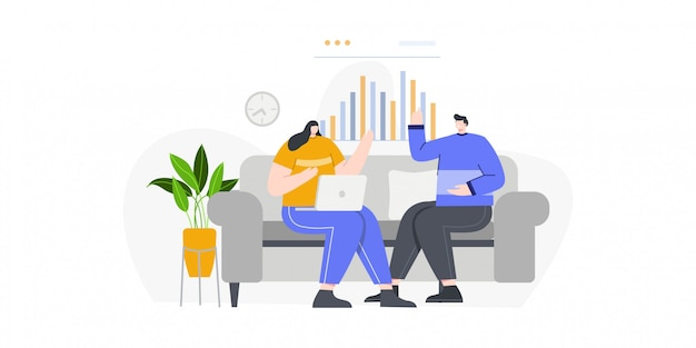 Business man and business women discussion concept illustration for landing page