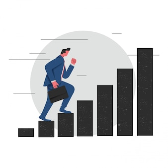 Business man on a career stairway illustration vector