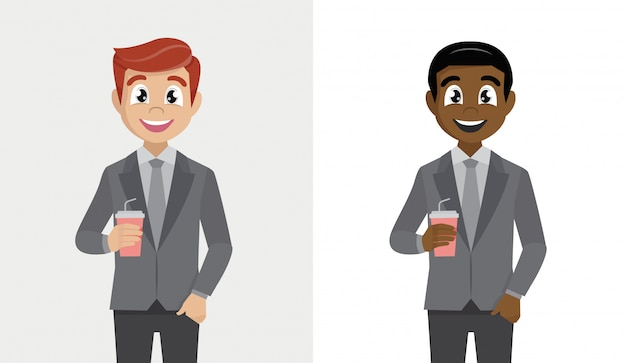 Business man cartoon character holding a paper cup of coffee.