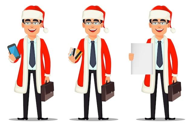 サンタクロースの衣装でビジネスマンの漫画のキャラクター