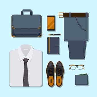 ビジネスマンのカジュアルな服装。ズボン、メガネ、スマートフォン、ペン、財布付きのアクセサリーベルト。
