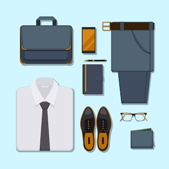 Business man casual outfit. accessory belt with pants, glasses and smartphone, pen and wallet.
