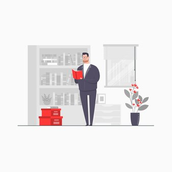 Business man character concept illustration reading book at library college student literature