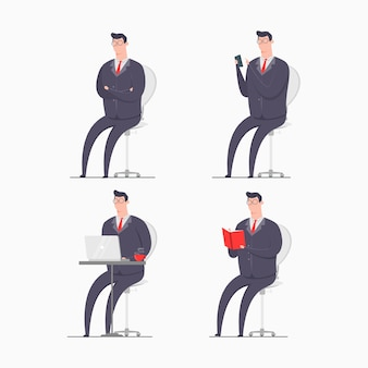 Business man character concept illustration wearing suits sitting smartphone gadget laptop book