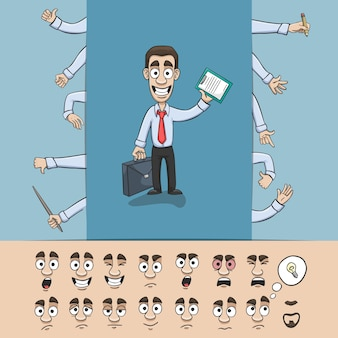 Business man character construction pack hand gestures and facial emotions design elements isolated vector illustration Free Vector