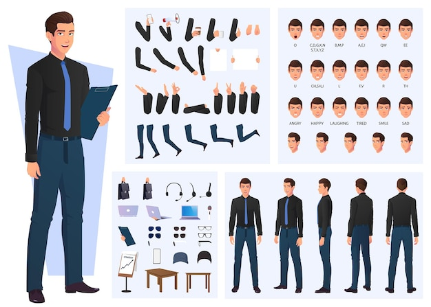 Business man character creation set, lip sync and hand gestures