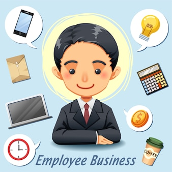 Business man character design and accessories icon