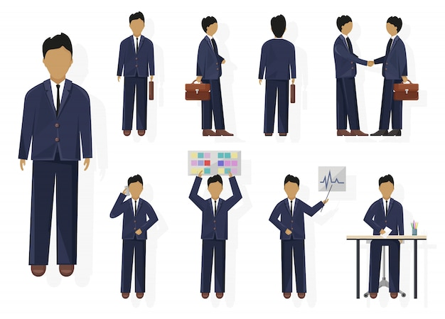 Business man character design set. woman with various views, poses and gestures. flat style isolated person
