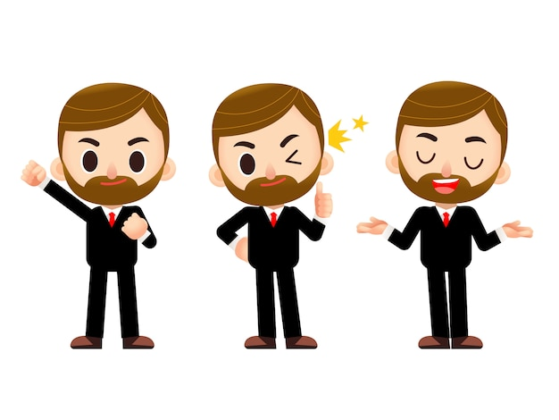 Business man character in different action poses isolated on white background