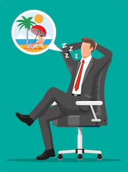 Business man character dreaming about vacation. tired businessman or office worker sleeping on workplace. stress at work. bureaucracy, paperwork, deadline. vector illustration in flat style