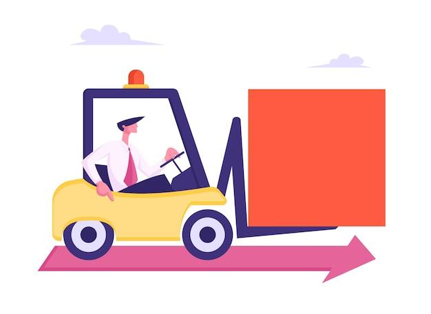 Деловой человек за рулем погрузчика с огромной квадратной плоской иллюстрацией