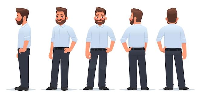 Il personaggio dell'uomo d'affari da diverse angolazioni vista dal lato anteriore e il ragazzo posteriore è in posa