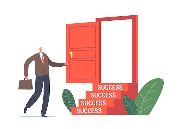 Деловой человек в официальном костюме входит в открытую дверь с лестницей к успеху. новая возможность бизнесмена, побег, проблема, правильное решение, концепция будущего. векторные иллюстрации шаржа