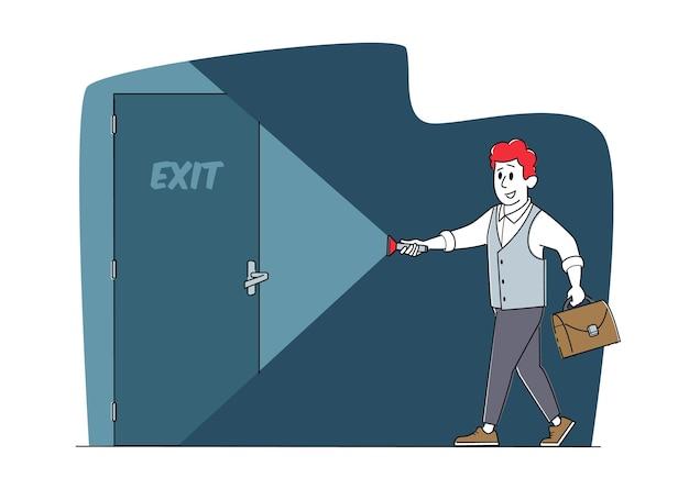 어둠 속에서 문 출구에 손전등이있는 정장 조명의 비즈니스 맨 캐릭터, 사업가 새로운 기회, 탈출, 도전, 성공, 올바른 솔루션 개념