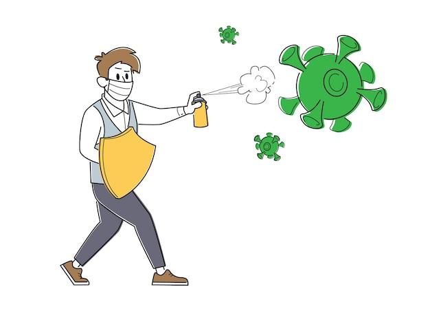 거대한 covid 19 바이러스 세포 공격에 맞서 싸우기 위해 방패와 스프레이가있는 메딕 마스크의 비즈니스 맨 캐릭터