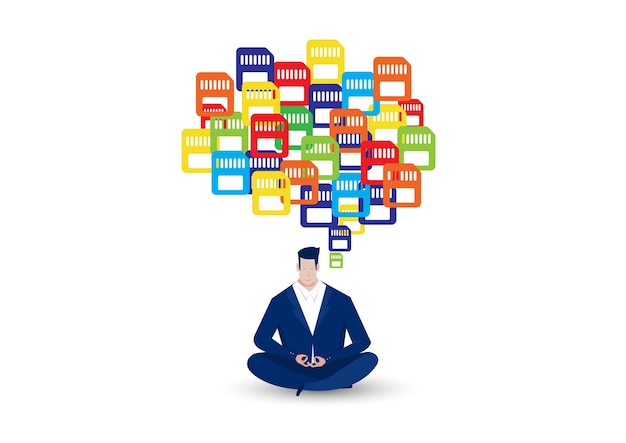 Business man character meditation with colorful memory palace , concept