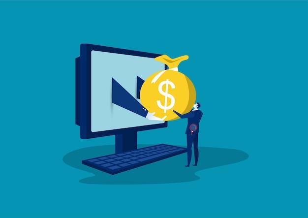ビジネスの男性キャラクターがラップトップを使用してオンラインでお金を送って、オンラインの利益概念