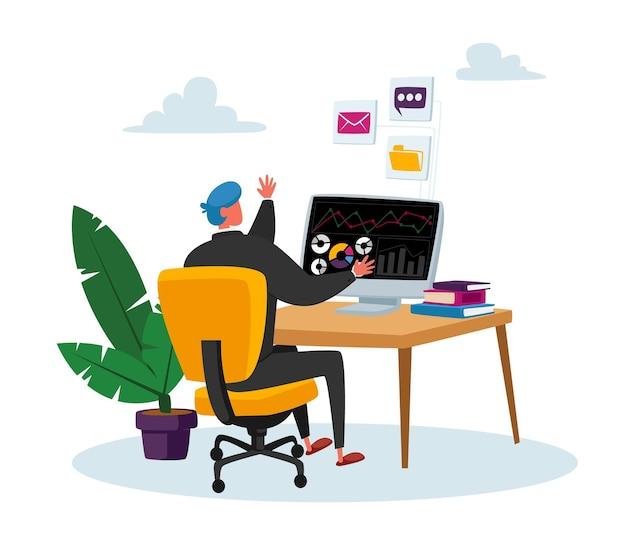 컴퓨터에서 일하는 비즈니스 맨 캐릭터 상인은 주식 시장에서 통화, 귀금속 및 채권 판매 및 구매