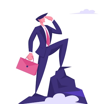 Business man character with briefcase in hand looking to distance
