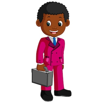 Business man characters holding briefcase