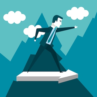 Business man climbing on mountain with arrow going