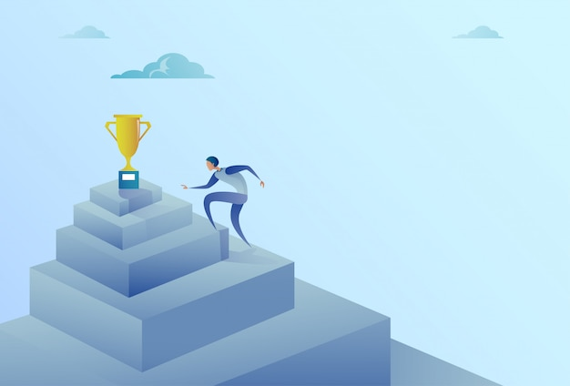 Business man climbing stairs to winner cup success concept