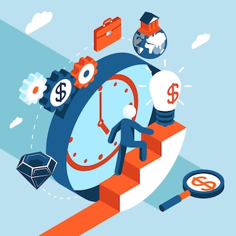 Деловой человек поднимается по лестнице к финансовому успеху. бизнес-концепция, цели и к успеху
