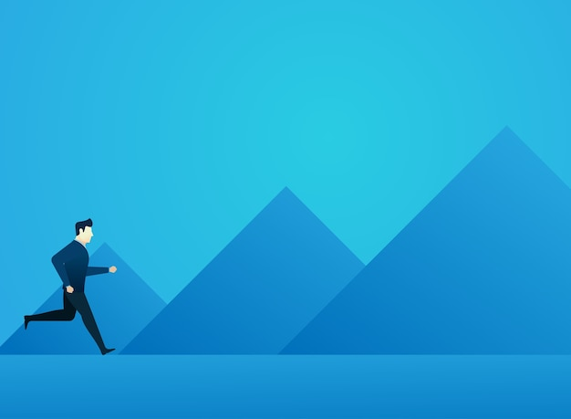 Business man concept of people run to goal with mountain background finance
