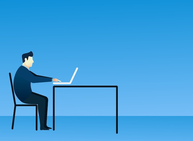 Business man concept of people sit using laptop