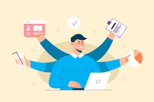 멀티 작업 새로운 아이디어를 다루는 비즈니스 사람. 노트북에서 작업. 비즈니스 목표, 성공, 만족스러운 성취의 개념.