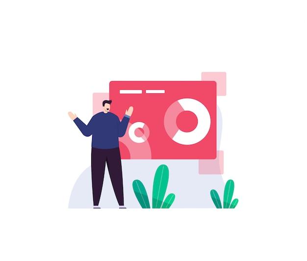 Business man and digital flat illustration