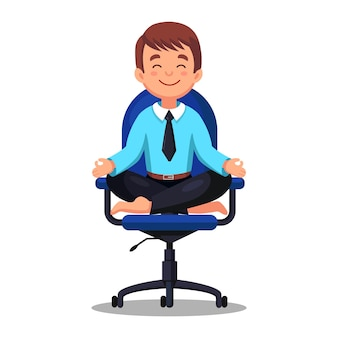 Business man doing yoga at workplace in office. worker sitting in padmasana lotus pose on chair, meditating, relaxing, calm down and manage stress