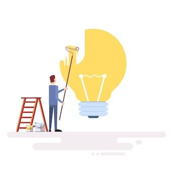 ビジネスマンは光buld nerのアイデアコンセプトを描く