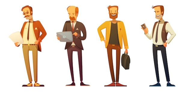 Business man dress code 4 retro cartoon icons set with businessmen