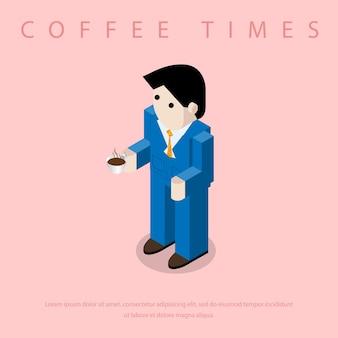 Деловой человек пьют кофе.